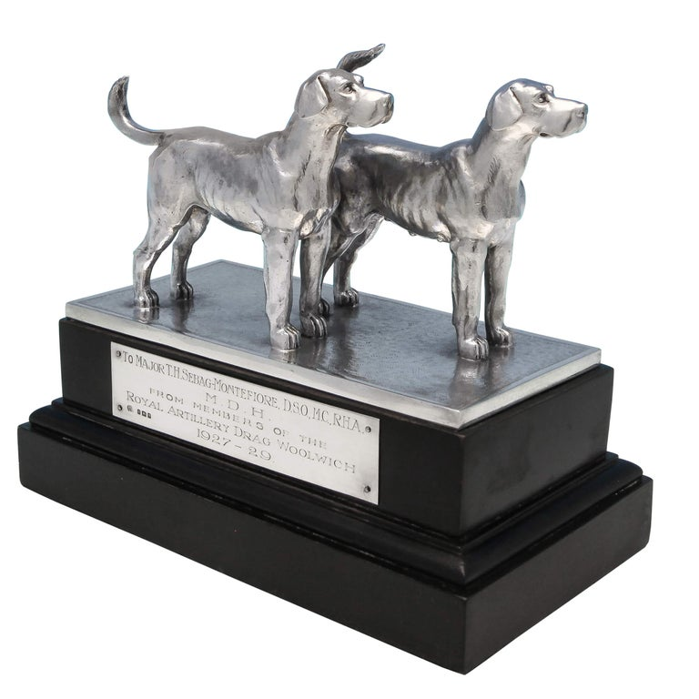 Sterling Silver Pair of Dogs For Sale