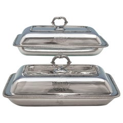 George III Antique Sterling Silver Pair of Entree Dishes by Richard Cooke