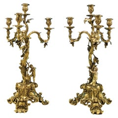 Rococo Revival Wine Related Gilt Antique Sterling Silver Pair of Candelabra