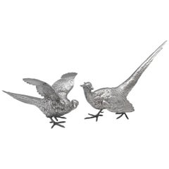Sterling Silver Pair of Pheasants