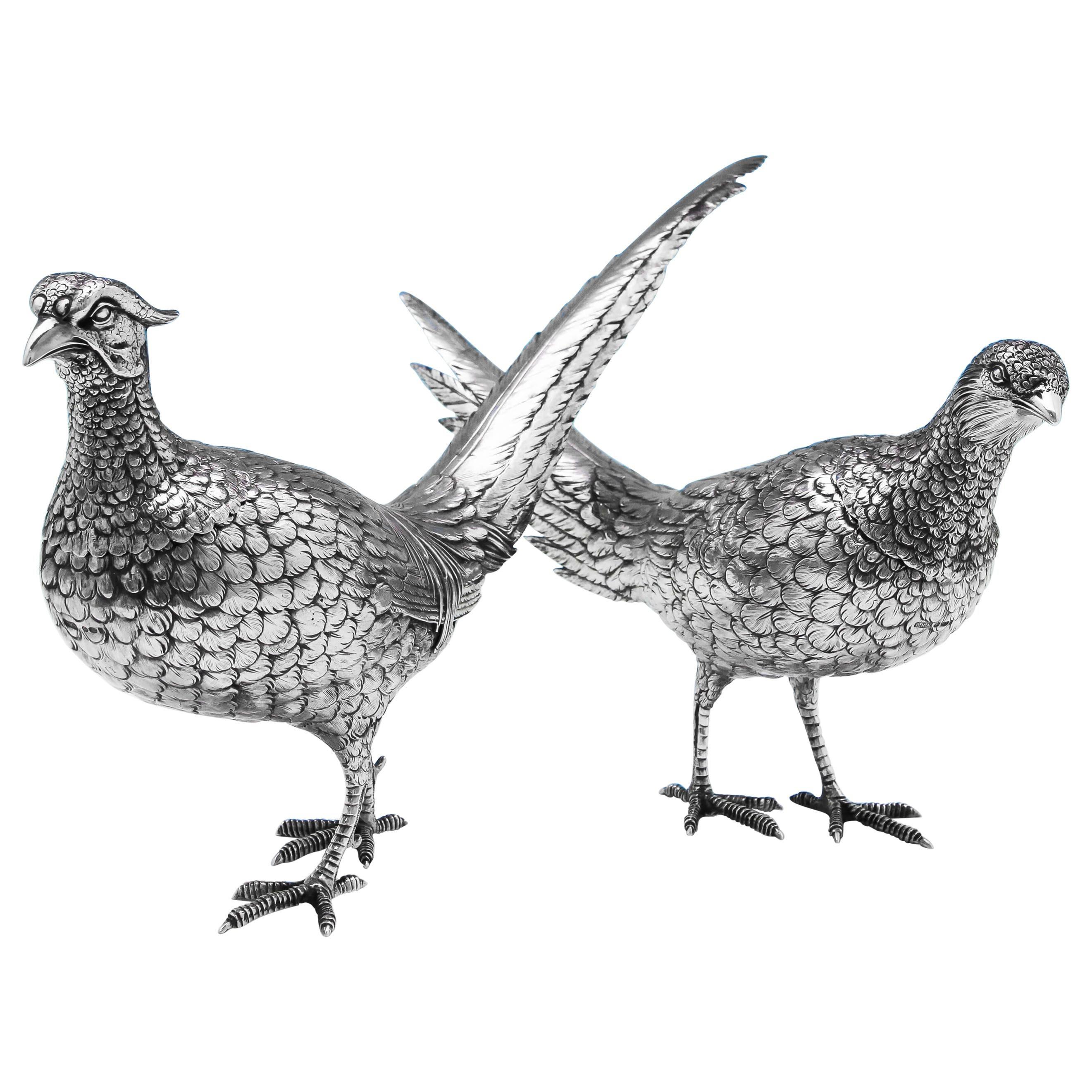Sterling Silver Pair of Pheasants