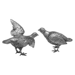 Sterling Silver Pair of Red-Legged Partridges Models by Comyns, London, 1970