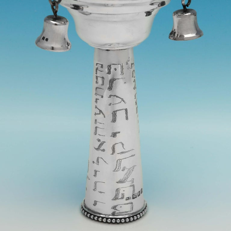 English Sterling Silver Pair of Rimonim For Sale