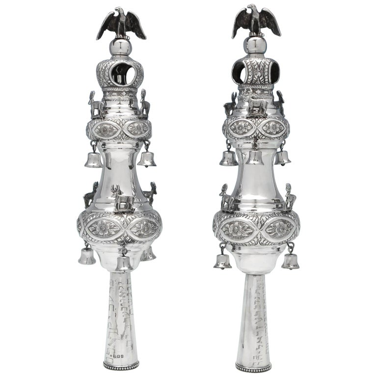 Sterling Silver Pair of Rimonim For Sale