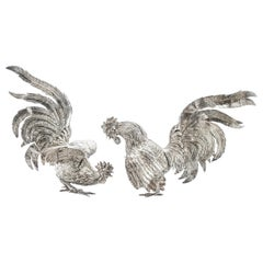 Sterling Silver Pair of Rooster and Hen Figurines