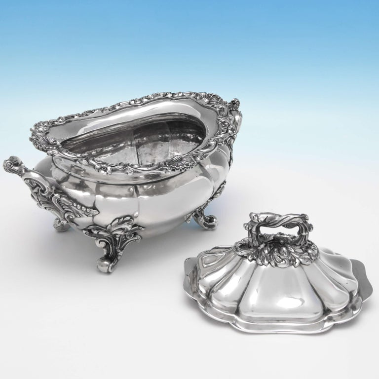 English Victorian Antique Sterling Silver Pair of Sauce Tureens by John Figg For Sale