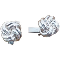 """Sterling Silver Pair of Solid """"Knot"""" of Cuff Links"""