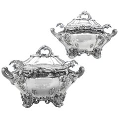 Sterling Silver Pair of Soup Tureens