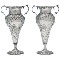 Sterling Silver Pair of Vases