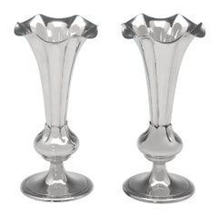 Victorian Antique Sterling Silver Pair of Vases by Elkington & Co. In 1899