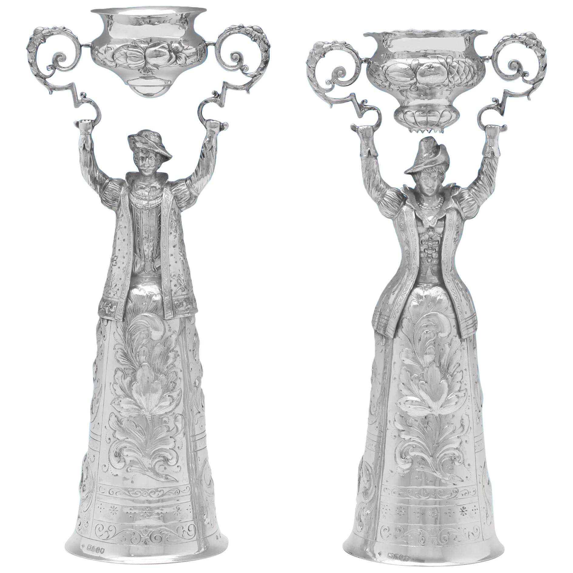 Large Victorian Antique Sterling Silver Pair Of Wager Cups from 1897