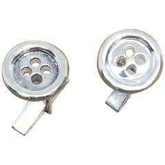 """Sterling Silver Pair Solid """"Button"""" of Cufflinks"""