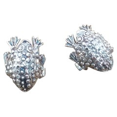 "Sterling Silver Pair Solid ""Frogs"" of Cufflinks"
