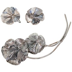 Sterling Silver Pansy Demi-Parure Brooch and Earring Set by Stuart Nye, 1940s
