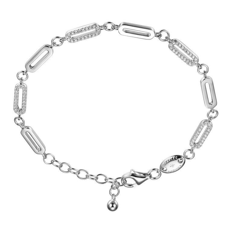 Modern Sterling Silver Paperclip Bracelet CZ Link (12x4mm), Rhodium Finish For Sale