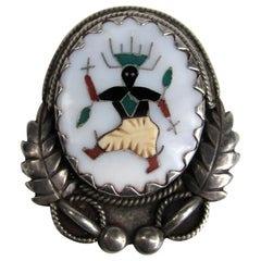 Sterling Silver Pearl Inlay Brooch / Pendant - Native American Zuni L.H. Lonjos
