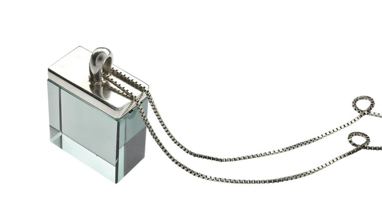 Sterling Silver Pendant Necklace with Green Amethyst In New Condition For Sale In Berlin, DE