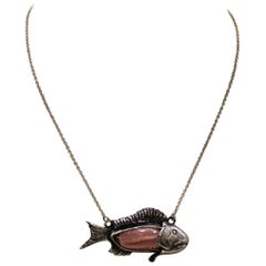 Sterling Silver, Pendant, Pink Fish, Handmade, Italy