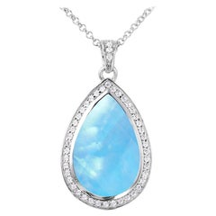 """Sterling Silver Pendant, White Crystal and Mother of Pearl Doublet with CZ, 18"""""""