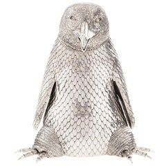 Sterling Silver Penguin Champagne Bottle Holder
