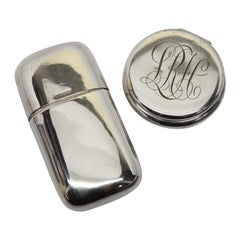 Sterling Silver Perfume Bottle with Sterling Silver Round Pill Box