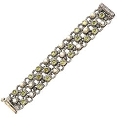 Sterling Silver, Peridot and Pearl 3 Row Cuff Bracelet