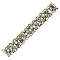 Sterling Silver, Peridot and Pearl 3 Row Ned Bowman Jeweler Cuff Bracelet