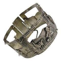 Sterling Silver Peruvian Peru Panel 3-D Bracelet