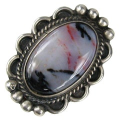 Sterling Silver Petrified Wood Ring Pawn Navajo Purple Hue
