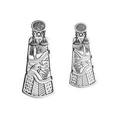 Sterling Silver Pharaonic Tales of the Nile Calligraphy Earrings