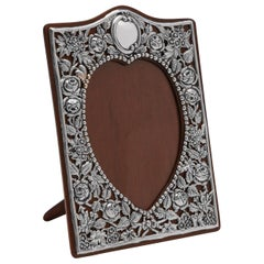 Heart Shaped Art Nouveau Antique Sterling Silver Photograph Frame from 1902