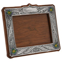 Enamelled Art Nouveau Antique Sterling Silver Photograph Frame from 1904