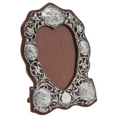 Heart Shaped Art Nouveau Antique Sterling Silver Photograph Frame from 1901