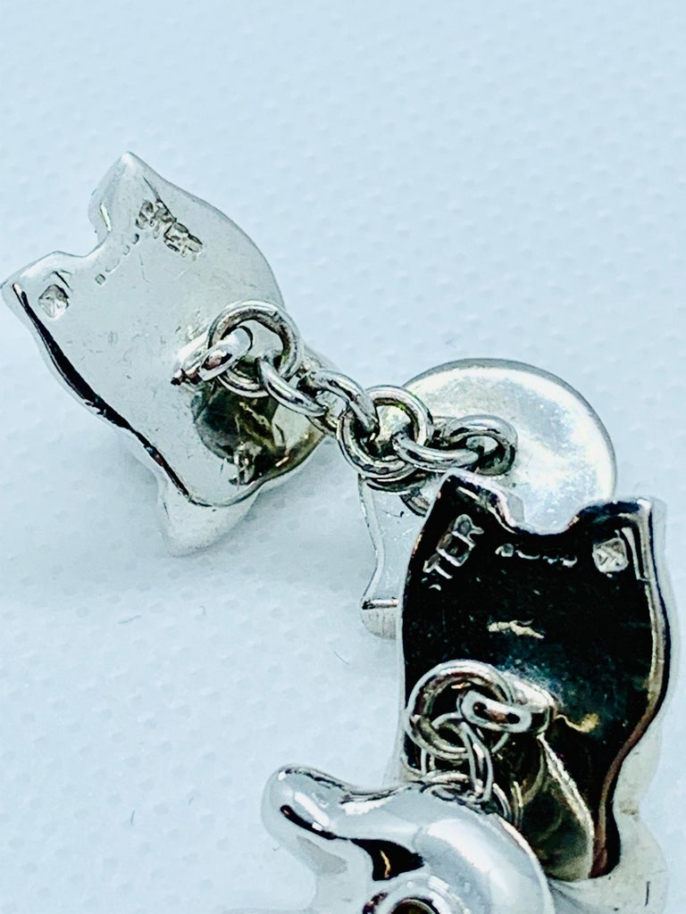 Modern Sterling Silver Pig Cufflinks For Sale