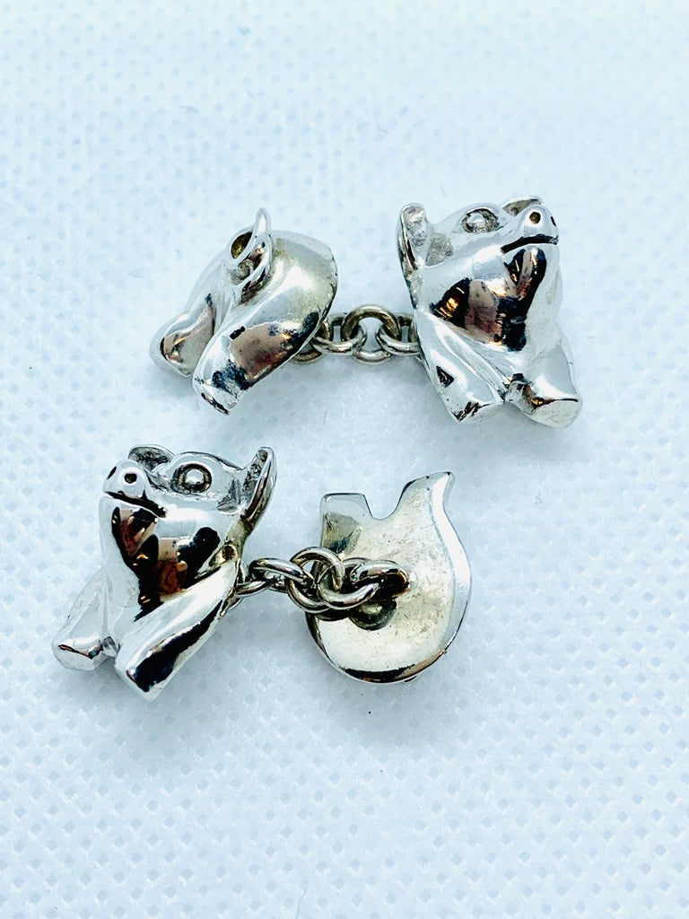 Sterling Silver Pig Cufflinks For Sale 1