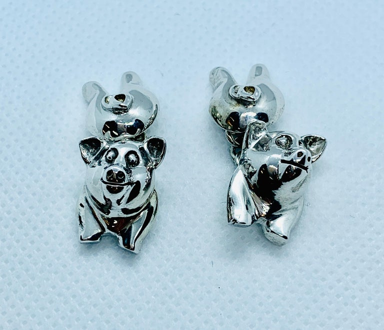 Sterling Silver Pig Cufflinks For Sale 3