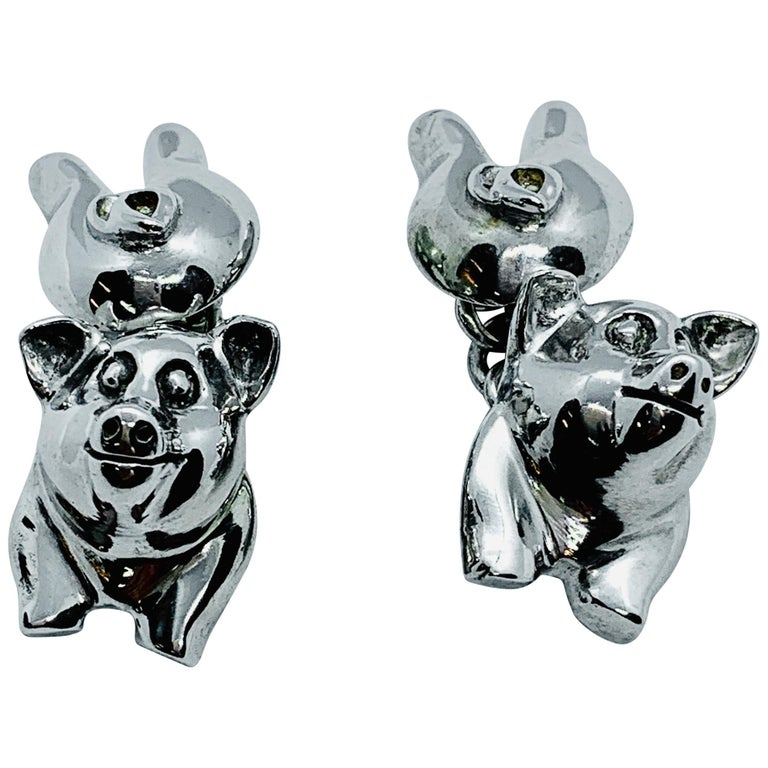 Sterling Silver Pig Cufflinks For Sale