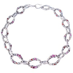Sterling Silver Pink and Red Garnet Encrusted Chain
