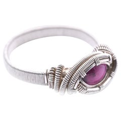 Sterling Silver Pink Tourmaline Wrapped Ring