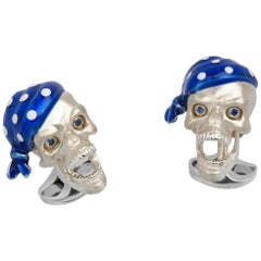 Sterling Silver Pirate Skull Cufflinks with Blue Bandana and Sapphire Eyes