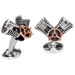 Deakin & Francis Sterling Silver Piston Cufflinks