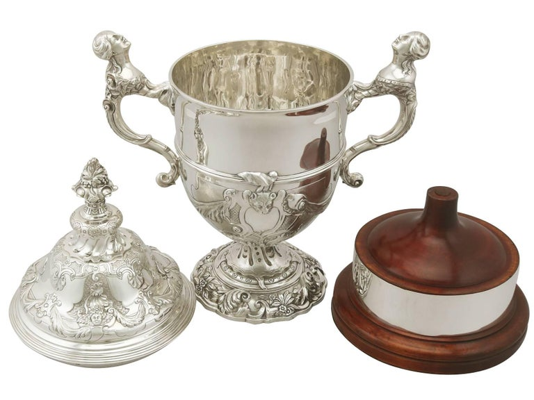 English Sterling Silver Presentation Cup and Cover, Antique George V For Sale