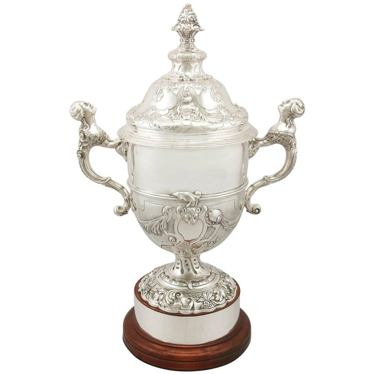 Sterling Silver Presentation Cup and Cover, Antique George V For Sale