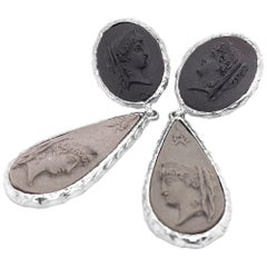 Sterling Silver Profile of Women in Ancient Rome Lava Cameo Earrings