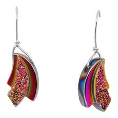 Sterling Silver Rainbow Titanium Druzy Dangle Drop Earrings 925 Sterling Silver