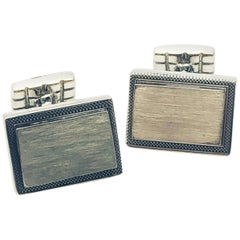 Sterling Silver Rectangular Engrave-Able Cufflinks