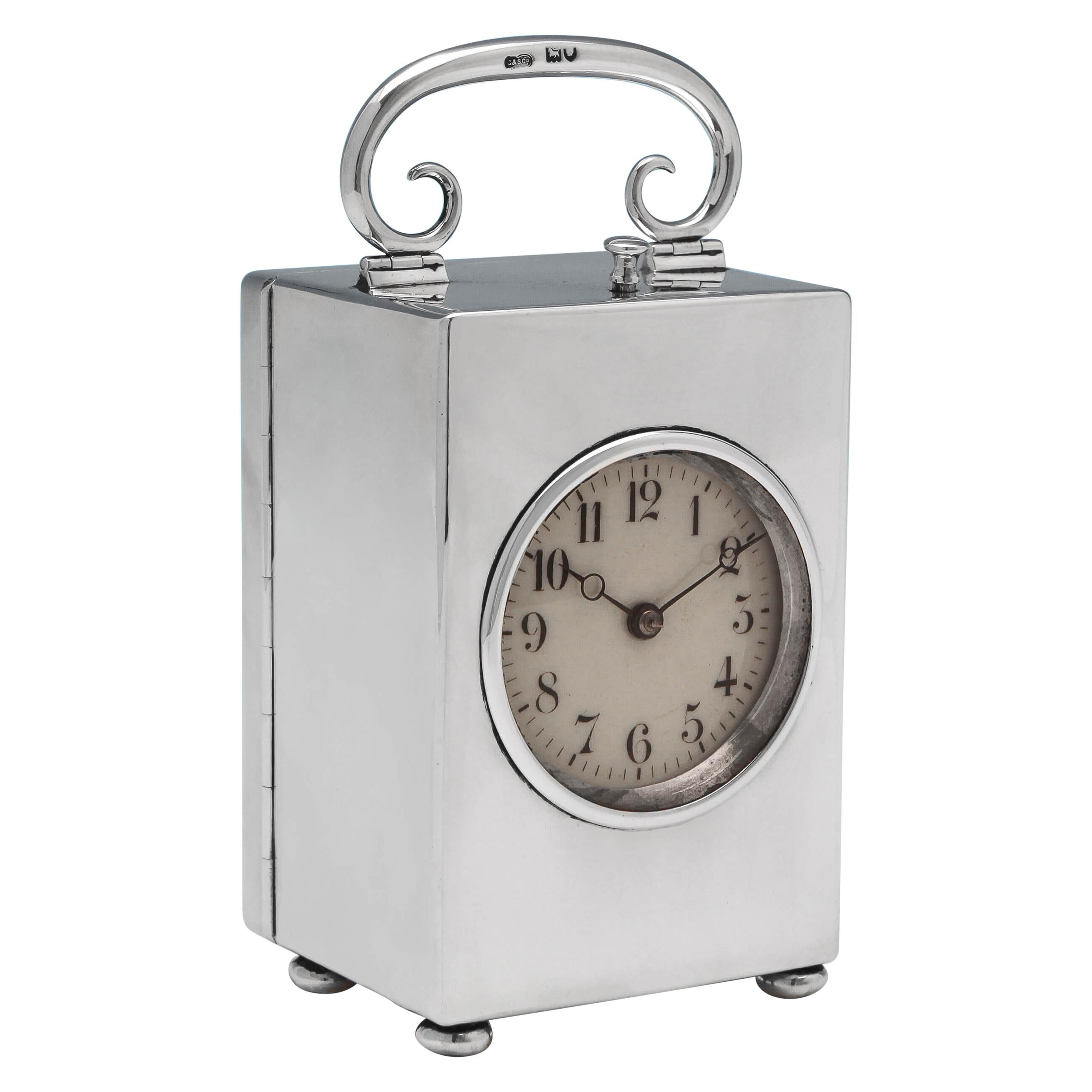 Victorian Antique Sterling Silver Chiming Repeater Clock from 1899