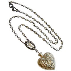 Sterling Silver Repousse Chatelaine Heart Scent Bottle, Cressida II Necklace