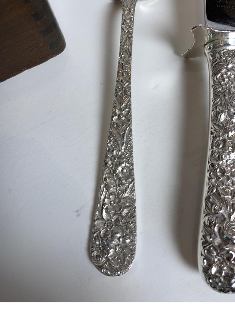 Sterling Silver Repousse Flatware Set with Walnut Box, Kirk & Son 68pcs  For Sale 8