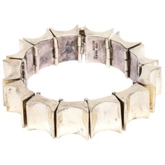Sterling Silver Reticulated Link Sculptural Cuff Bracelet